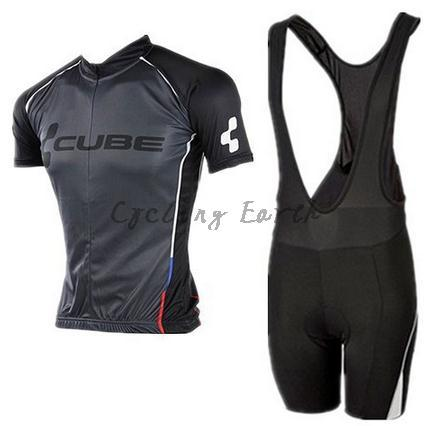 High Quality,CUBE 2015 #2 black short sleeve cycling jersey bib shorts set clothes jersey pants,gel pad,3D Silicone!