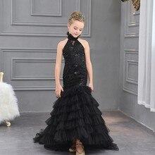 Siyah Çiçek Kız Dresse Düğün için İlk Communion Elbise Kızlar için Çocuk  Mermaid Abiye giyim Çocuk a2141ce430a2