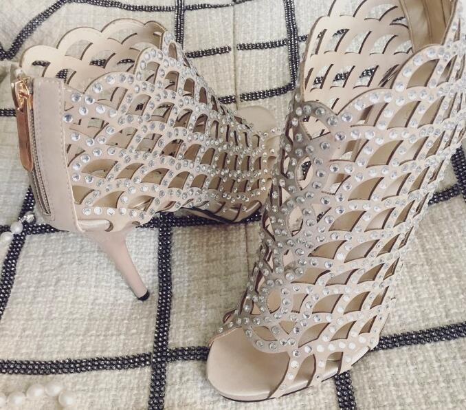 Sexy Rhinestone Cage Shoes Nude Black Crystal Embellihshed Women Sandals Cut out Peep Toe Wedding Shoes Bride Gladiator Heels in High Heels from Shoes