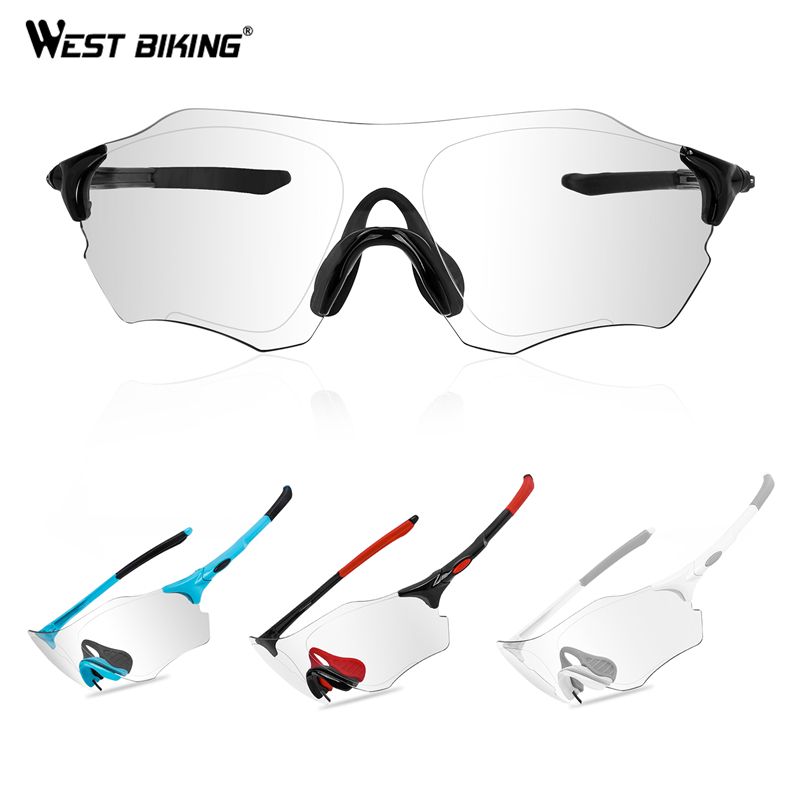 WEST BIKING Photochromic Cycling Glasses UV400 Outdoor Sports MTB Bicycle Run Sunglasses Goggles Discoloration Road Bike Eyewear