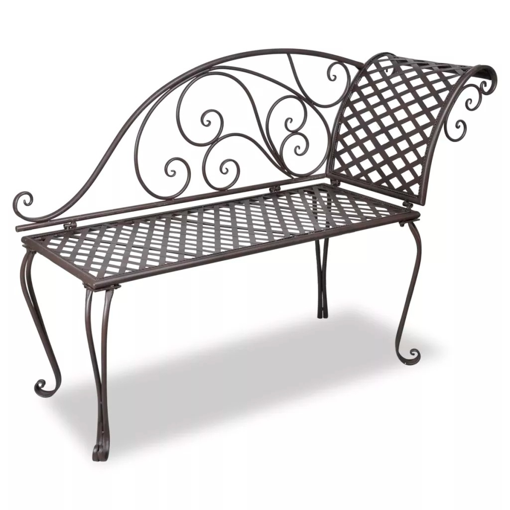 VidaXL Chaise Longue De Jardin 128 Cm Acier Antique Marron Weather Resistant And Highly Durable Garden ChairsVidaXL Chaise Longue De Jardin 128 Cm Acier Antique Marron Weather Resistant And Highly Durable Garden Chairs
