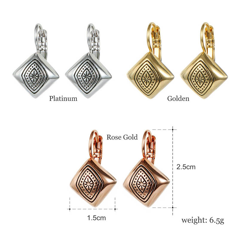 2018 New Arrival Rose Gold Silver Color Vintage Exquisite Carved Square Shaped Ear Cuff Earings Clips for Women in Clip Earrings from Jewelry Accessories