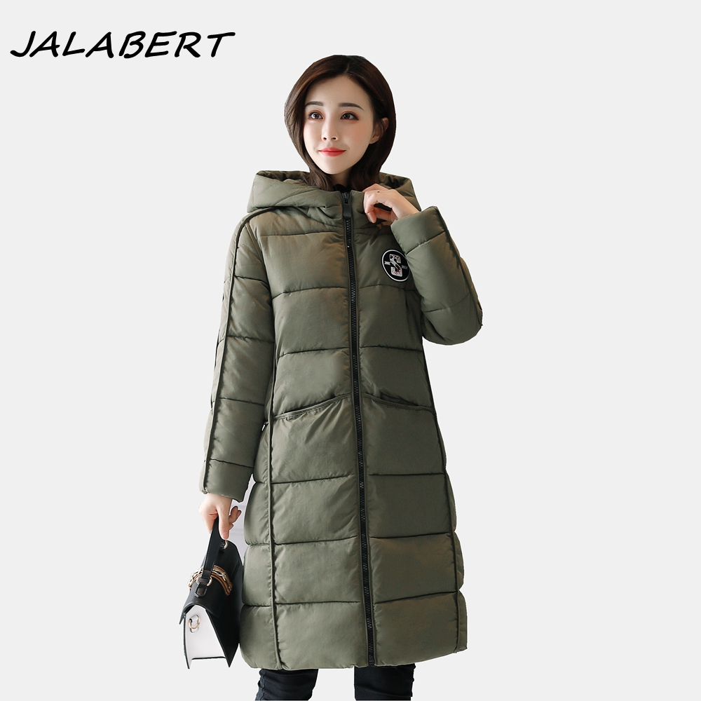 2017 New women winter warm jacket female long hooded solid thick zipper slim casual pocket brown parkas cotton coat 2017 new winter coat for women slim black solid hooded long warm cotton parkas female thicker zipper red jacket padded