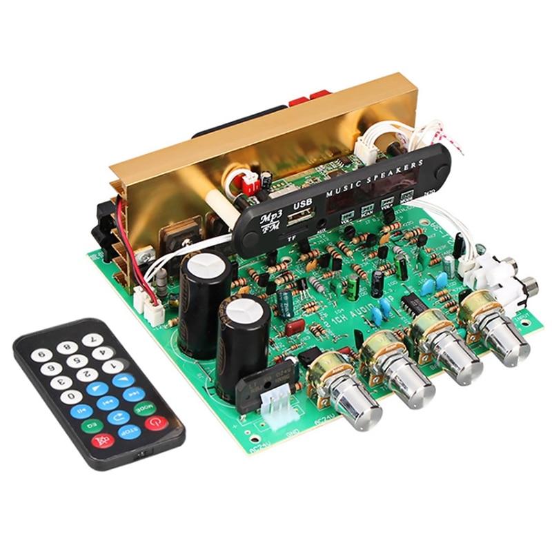 Placa de amplificador bluetooth 80 w 2.1 canais subwoofer amplificador placa de áudio com aux fm tf u disco cinema em casa diy