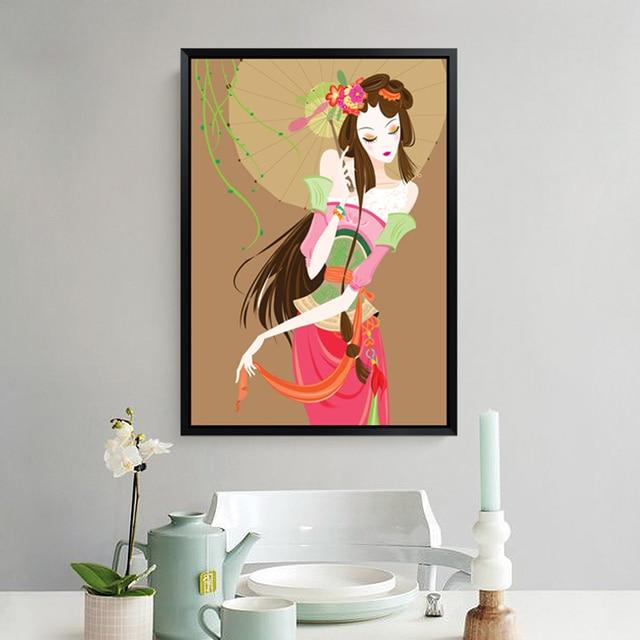 Wohnzimmer Dekorative Malerei Hintergrund Simple Einzigen Abbildung  Wandfarbe Das Schlafzimmer Sofa Regenschirm Frau Gemälde