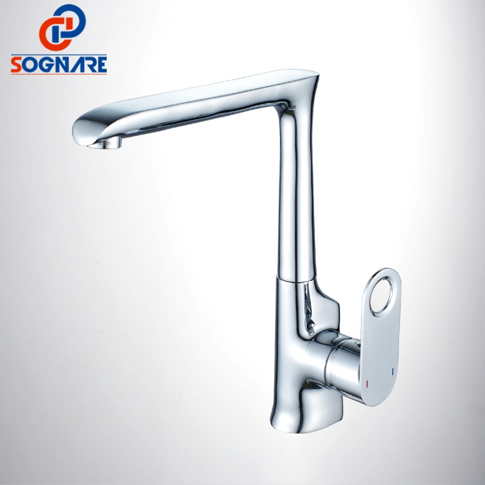 SOGNARE Kitchen Faucets Brass Chrome Finish Sink Mixer Tap 360 Degree Rotation Cold Hot Water Mixer Taps torneira cozinha D2113 modern kitchen sink faucet mixer chrome finish kitchen double sprayer pull out water tap torneira cozinha rotate hot cold tap
