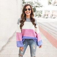 Color Block Patchwork Sweater Women Casual Long Lantern Sleeve O Neck Pullovers Women Sweater Autumn Winter Outwear Warm Top