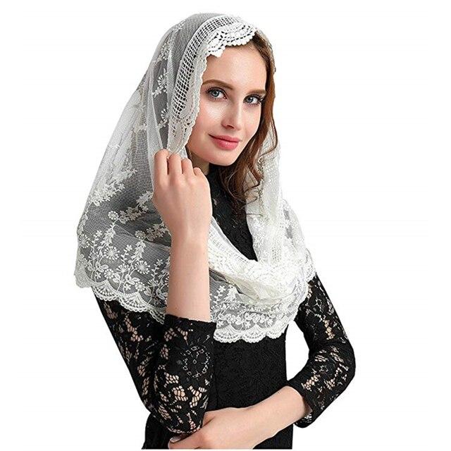 ISHSY Ivory Lace Women Catholic Mantilla Veil for Church Head Cover Latin Mass Velo Mantilla de Novia Negra Chapel infinity veil
