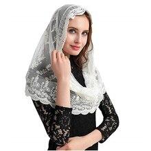 Laço de marfim ishsy mulher católica mantilla véu para a igreja cabeça capa latina massa velo mantilla de novia negra capela infinito véu