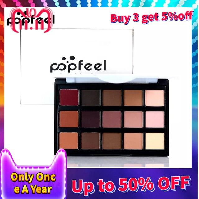 POPFEEL 15 colores Nude paleta de sombra de ojos profesional ojo de la marca de maquillaje de ojos Smokey sombra brillo Natural paleta de sombra de ojos