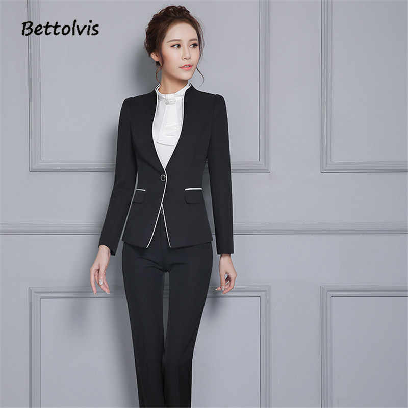 553330deaf9c9 ... 2019 Autumn female elegant pant suits Women set work wear women's long  sleeve blazer with Trousers ...
