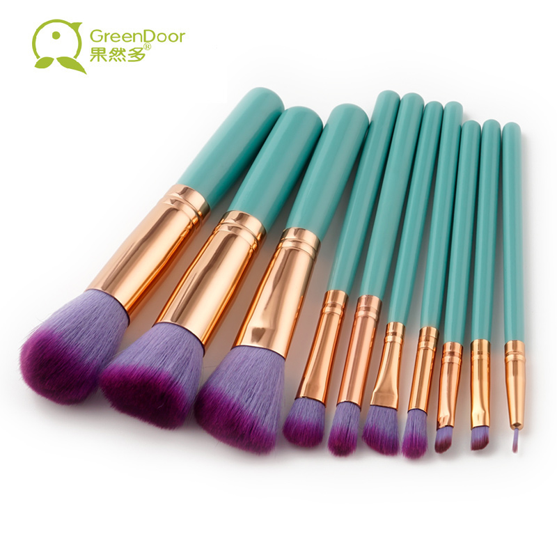GreenDoor 10 pcs/set Wood Handle Professional Makeup Brushes Set Foundation Concealer Eye Shadow Brush Make Up Tool High Quality jp 48 25 pavone 1106648