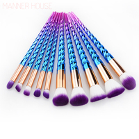 MANNER HOUSE 10Pcs Professional Makeup Brushes Set Beauty Cosmetic Eyeshadow Lip Powder Face Pinceis Tools Kabuki