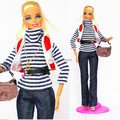(Combine shipping) Handmade Suits White Black Stripe T-shirt Jeans Necklace Bag Set Outfit Dress Clothing For Barbie Kurhn Doll