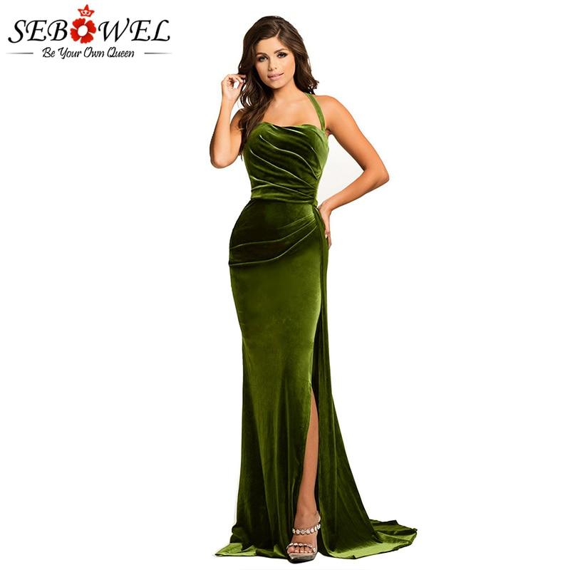 SEBOWEL Sexy Green High Split Velvet Evening Gown Women Elegant Long Maxi Velvet Party Dress Lady Floor Length Dress For Wedding