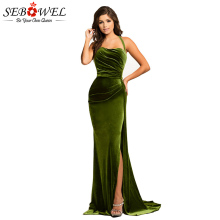 SEBOWEL Sexy Green High Split Velvet Evening Gown Women Elegant Long Maxi Party Dress Lady Floor Length for Wedding