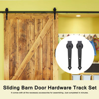 Arrow Type Carbon Steel Sliding Barn Door Hardware Track Set for Barn/Solid Wood Door With Rubber Ring Strong Bearing Capacity