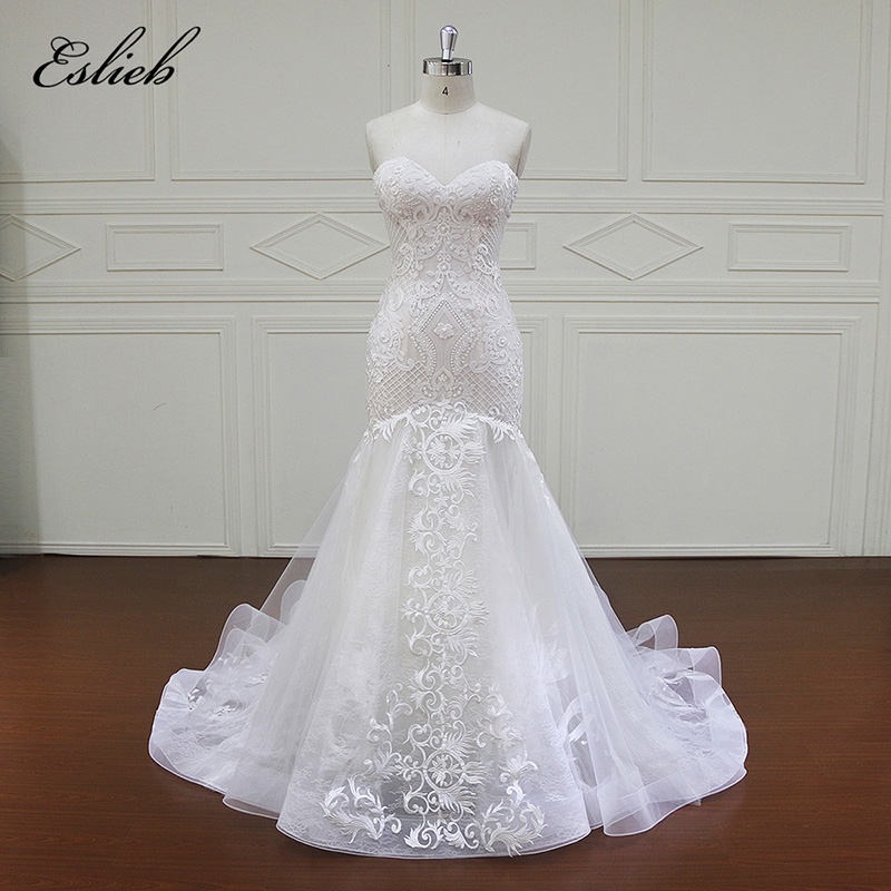 Sweet Heart Sexy Mermaid Gown Độc Đáo Ren Appliques Tulle Ngọc Trai Cao cấp Wedding Dress Zipper Trở Lại Ngọc Trai Bridal Gown