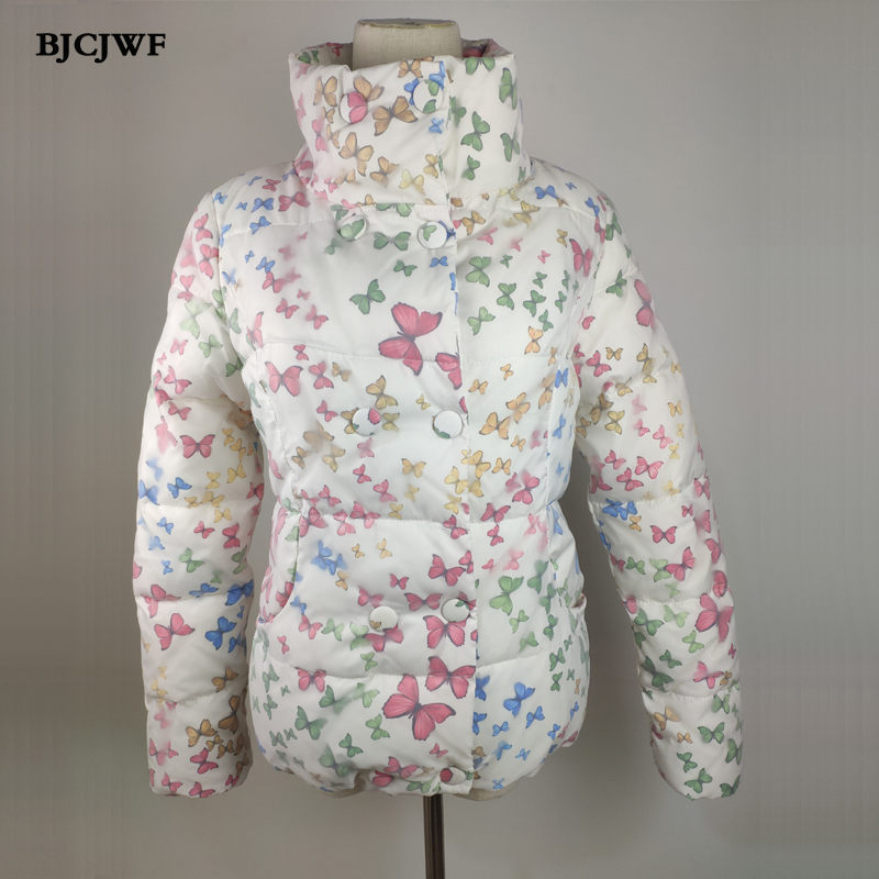 BJCJWF New Winter women's   parka   Grenadine fabric Mujer fashion Butterfly Print short jacket thick Down cotton padded Loose coat