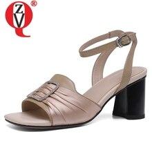 c47163e0d ZVQ sapatos mulher 2019 nova primavera moda sexy dedo aberto genuínos  sandálias de couro mulher saltos