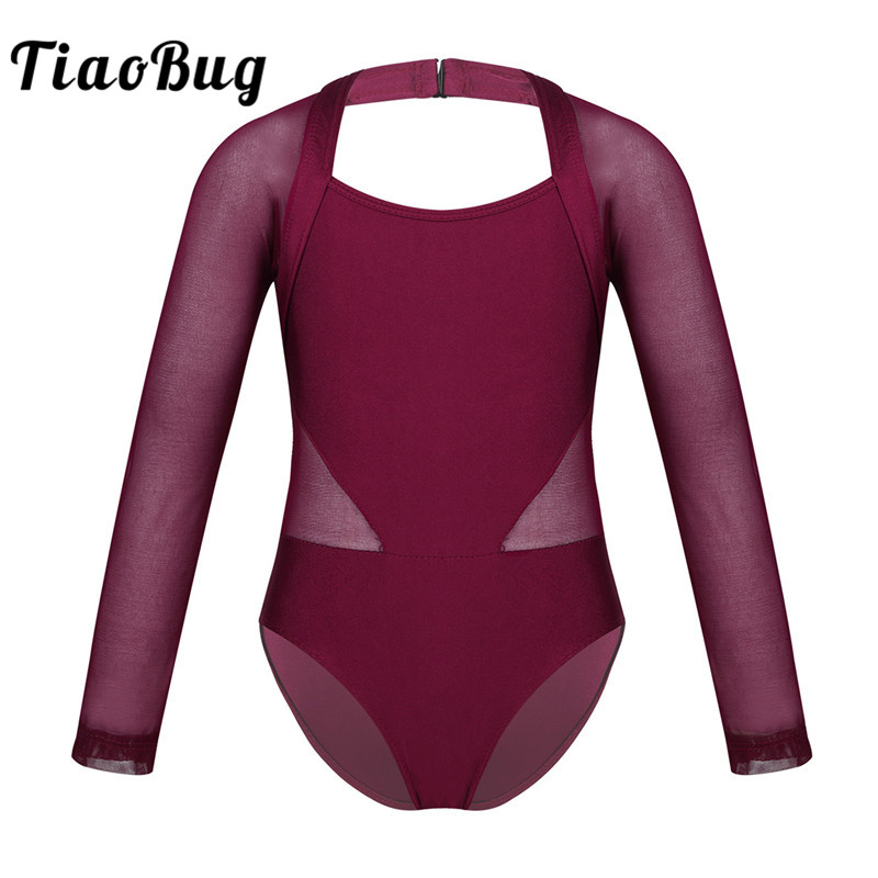 <font><b>TiaoBug</b></font> Kids Teens Mesh Splice Ballet Leotard Dance Costume Children Girls Long Sleeves Gymnastics Leotard Bodysuit Dance Wear image