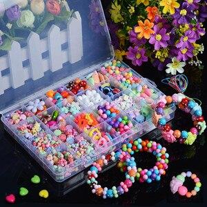 500 قطع سوار ذاتي الصنع إكسسوارات خرز النتائج لصنع المجوهرات الفتيات مزيج اللون لعب للأطفال هدايا فاصل الاكريليك الخرز مع مربع