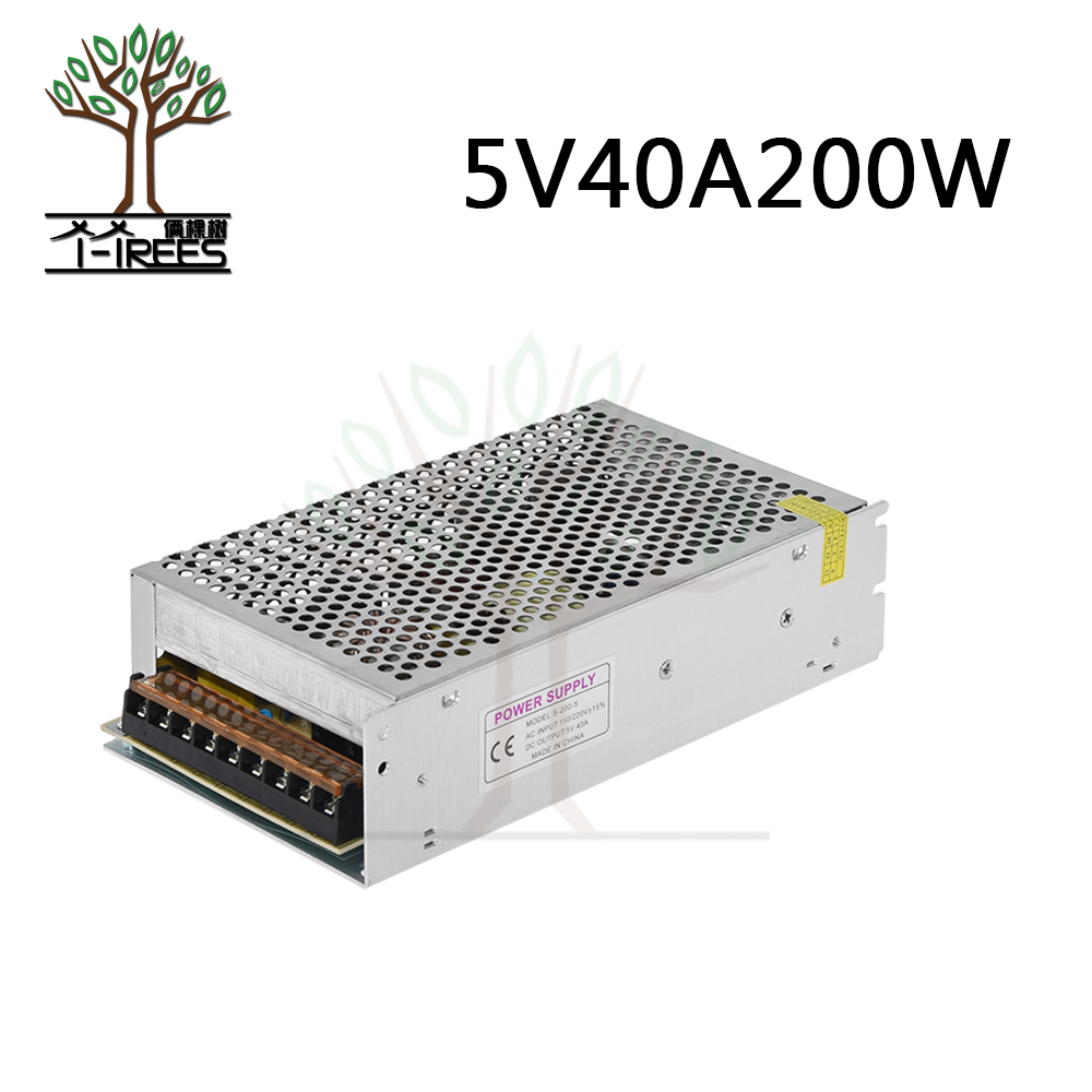 Single Output Switching power supply 5V 40A 200W Transformer 220V AC To DC 5 V SMPS For LED Strip Light Display 3D printer s 201 5 201w 5v 40a single output ac dc switching power supply for led strip ac110v 220v transformer to dc 5v led driver