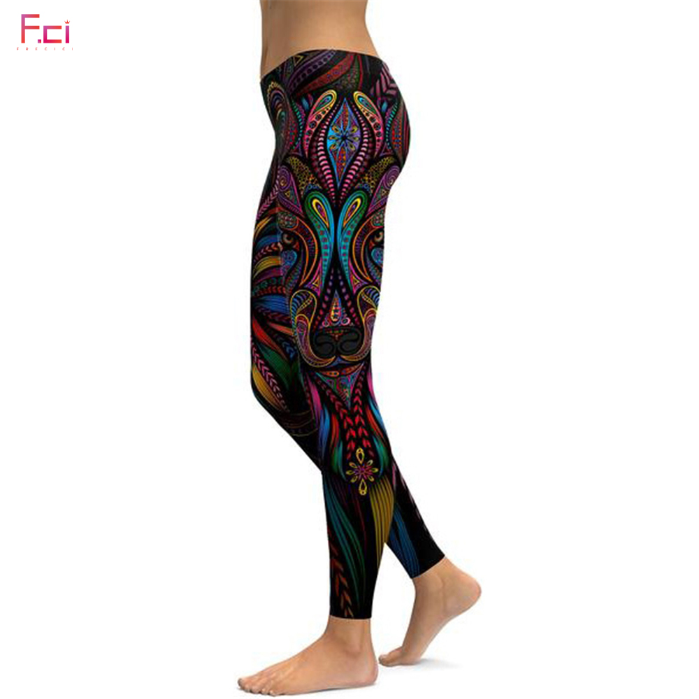 2019 Women 3D Printed Colorful Wolf Leggings Quick Dry Workout Fitness leggings Pencil Pants Female Plus Size Pants S~4XL