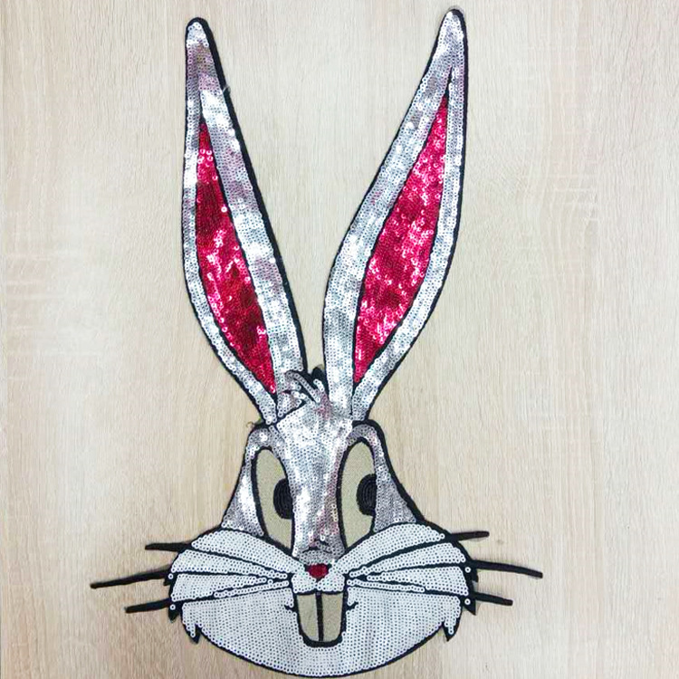GUGUTREE embroidery Sequins big rabbit patches animal cartoon patches badges applique patches for clothing ZM 68 in Patches from Home Garden