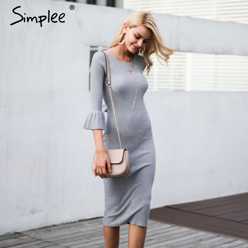 Simplee Butterfly Sleeve Knitting Sweater Dress DR949