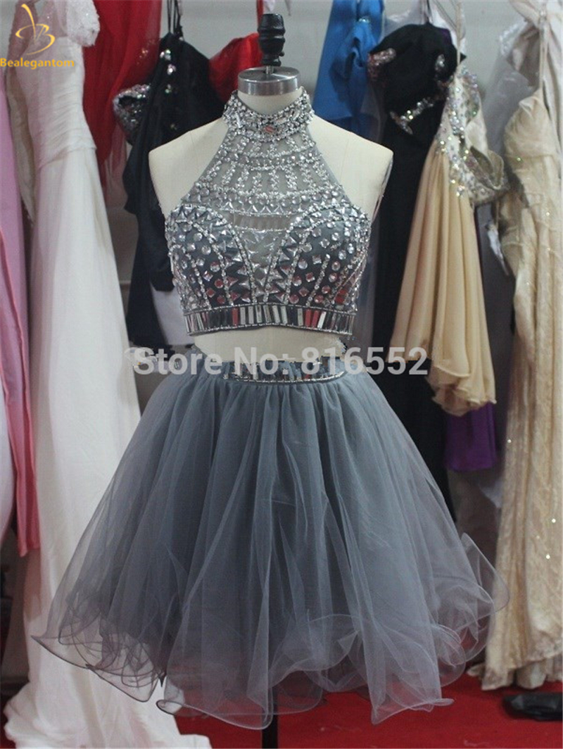 Bealegantom 2018 New Sexy Halter Short Homecoming Dresses With Beaded Crystals Prom Party Dresses Graduation Dress QA1469