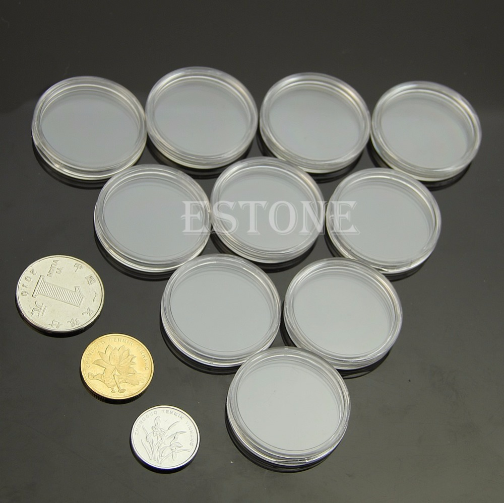 10 Pcs Applied Clear Round Cases Coin Plastic Round Box