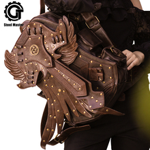 2020 Steampunk Men Backpack Vintage Fashion Gothic Retro Rock Bags PU Leather Punk Bag Womens Brown Detachable Wing Backpacks
