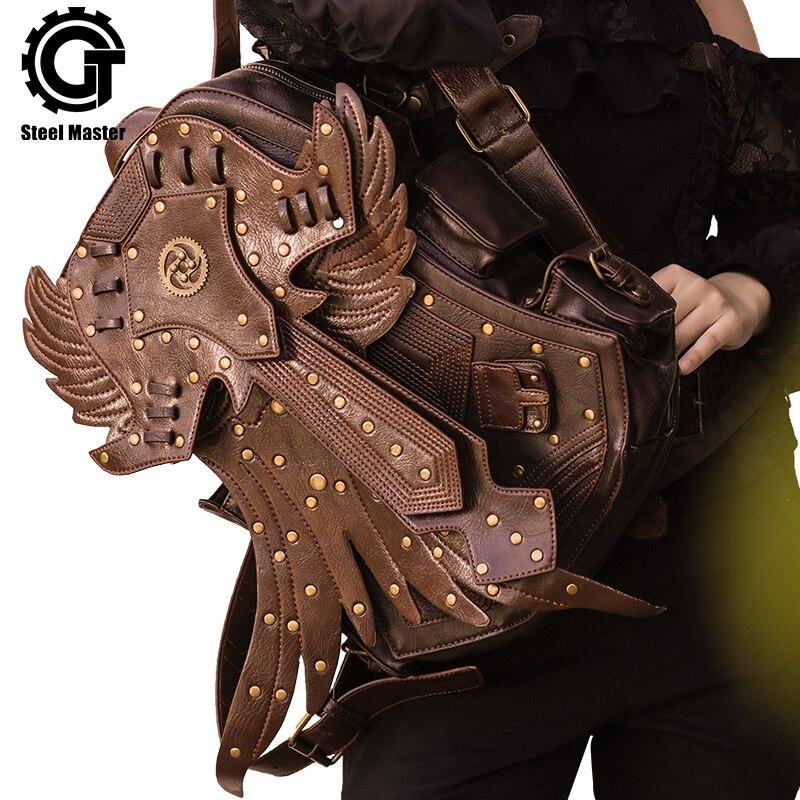 Steampunk Men Backpack Vintage Fashion Gothic Retro Rock Bags PU Leather Punk Bag Womens Brown Detachable Wing Backpacks недорго, оригинальная цена