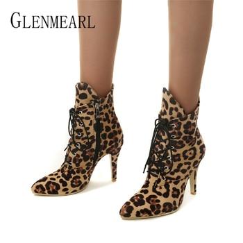Women Boots Winter Shoes High Heels Fashion Leopard Ankle Boots Pointed Toe Casual Shoes Woman Lace Up Plus Size Ladies Pumps DE