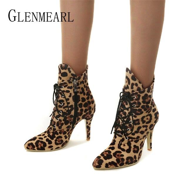 Kobiety Buty Zimowe Buty Wysokie Obcasy Moda Leopard Botki Pointed Toe Przypadkowi Buty Kobieta Lace Up Plus Size Panie pompy DE