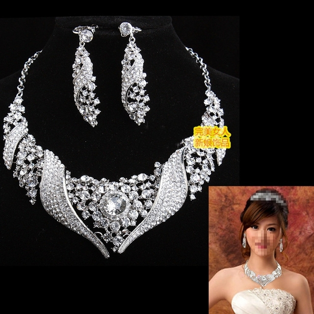 2014 European and American bridal sets of chain necklace bride wedding jewelry wedding jewelry necklace earrings set piece suit