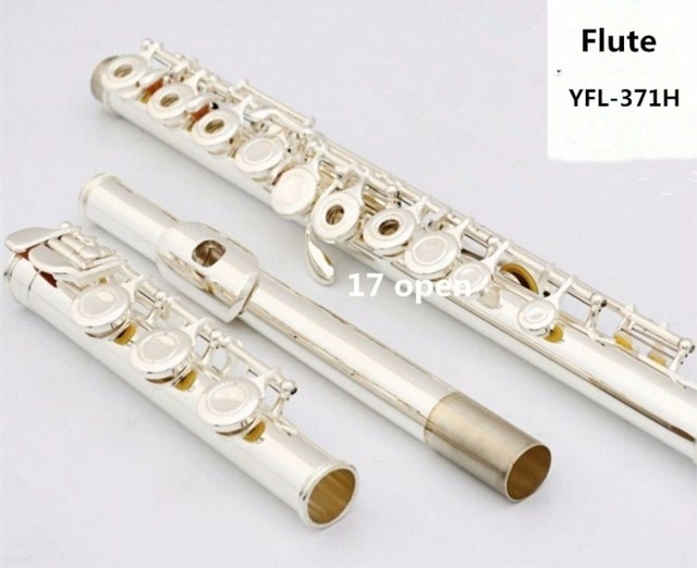 High quality flute YFL-371H Silver flute C tune 17 open musical instruments E key flute Professional musical free shipping