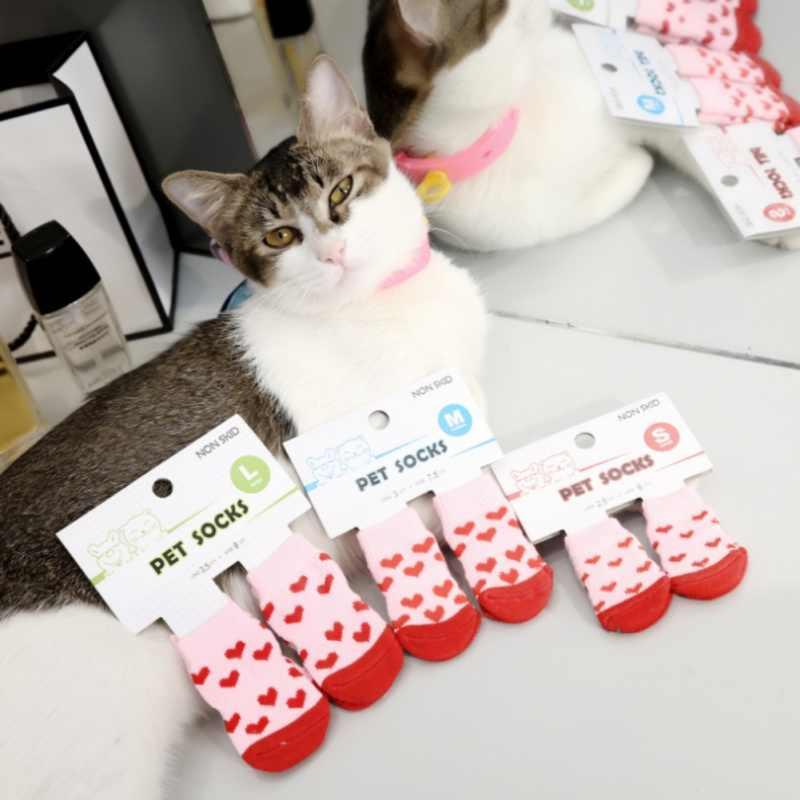 Pet Cat Socks Soft Quality Cotton Warm Antiskid Paws Dirts Away Easy  Washing Indoor Dog Cat Shoe Socks