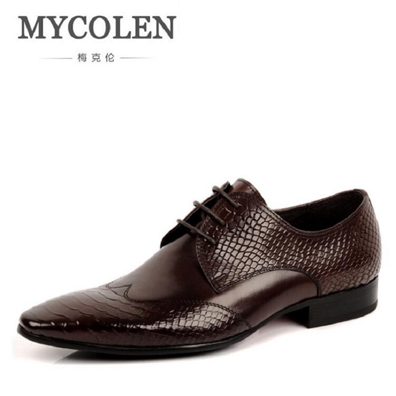 MYCOLEN Fashion Leather Brand Men Dress Shoes Business Genuine Leather Office Oxford Men Shoes For Wedding Schoenen Mannen men s shoes business dress genuine leather evening dress flat shoes brand luxry oxford men loafers wedding leather shoes