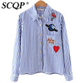 Character Heart Embroidery Blue Striped Long Sleeve Women Blouse Shirt Casual Korean Turn Down Blusas 2016 Summer Femininas