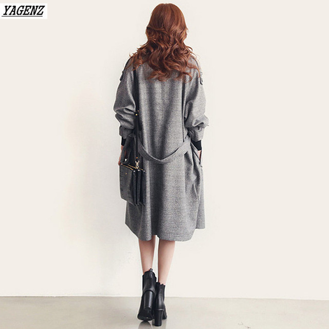 YAGENZ 2017 Spring Autumn Woman Trench Coat  Fashion Costume Medium Long Windbreaker Outwears Loose Large Size Casual Tops Belt 6