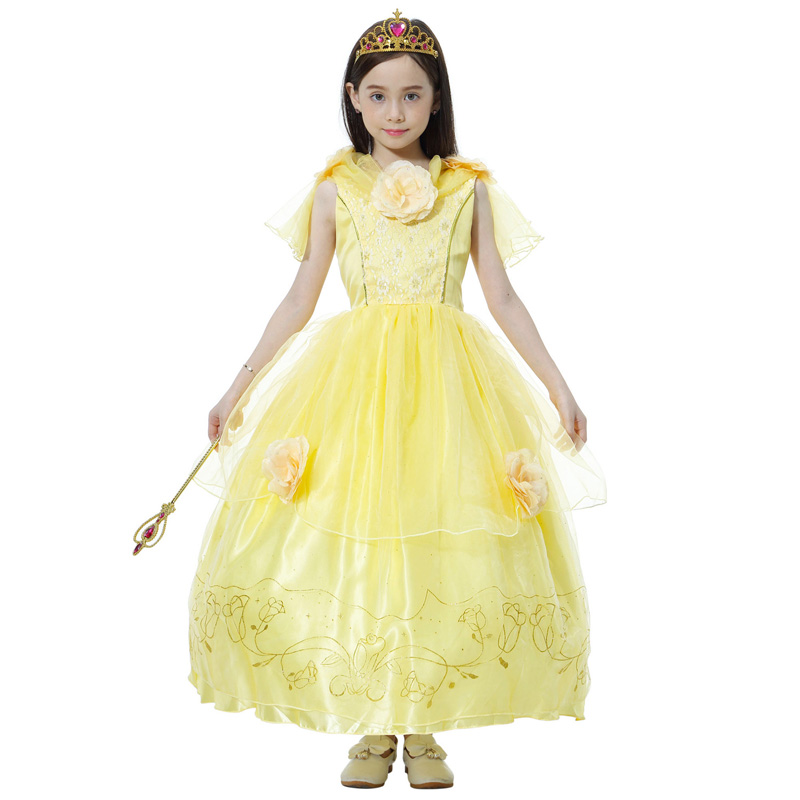 Children  Beauty And The Beast Princess Belle Costumes Cosplay Yellow Long Dress  For Girl Halloween Party  Cosplay Size M-XXXL
