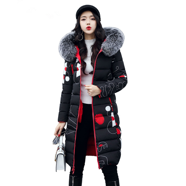 New 2017 Winter Women Coat Long Cotton Jacket Fur Collar Hooded 2 Sides Wear Outerwear Casual Parka Plus Size Manteau Femme 1858 zoe saldana 2017 winter women coat long cotton jacket fur collar hooded letter print outerwear femme casual parka