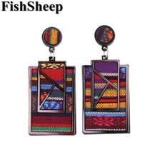 FishSheep Bohemian Acrylic Geometric Big Pendant Earrings For Women Ethnic Large Fabric Hanging Drop Statement Jewelry