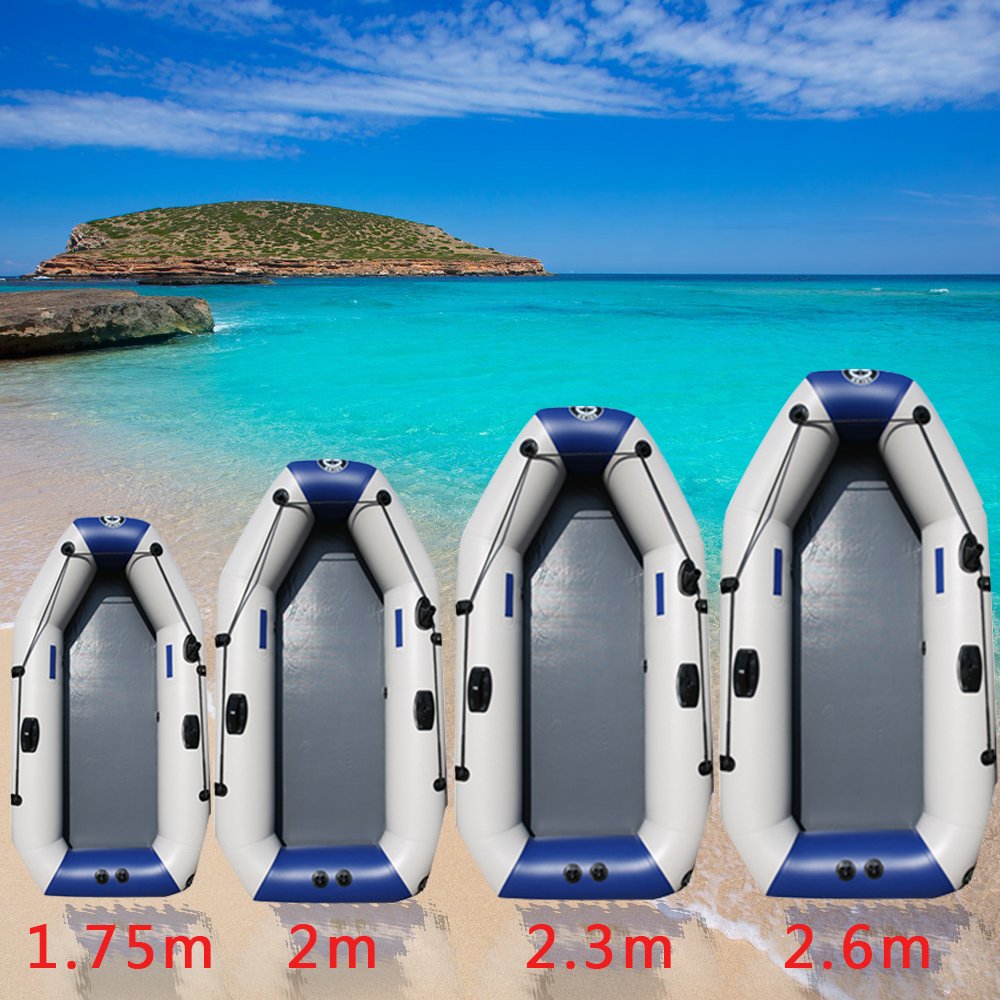 175 260cm PVC Inflatable Boat Wear resistant Foldable Air Rowing Kayak / Air Pump for 2 8 person Outdoor Fishing Sports