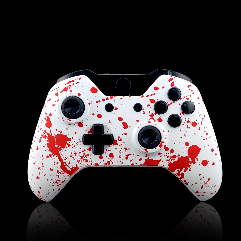 US $10 34 31% OFF|DIY Replacement Controller Shell Blood red Splash Design  splatter for Xbox One Shell Mod Kit + Buttons White With tools-in Cases