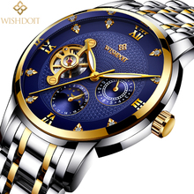WISHDOIT Luxury Men Mechanical Watches Sport Business Waterproof Casual Fashion Steel Mens Watch Male Clock Relogio Masculino