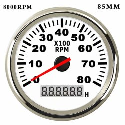 8000RPM Tachometer for Diesel Engine Gasoline Engine Boat Car Tacho Gauge Meter with Hour meter Red Backlight