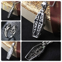 BOAKO Stainless Steel Necklace For Men Punk Skull Pendant Halloween Cross Skeleton Coffin Gothic Z5